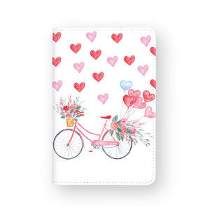 front view of personalized RFID blocking passport travel wallet with Happy Valentine Day design
