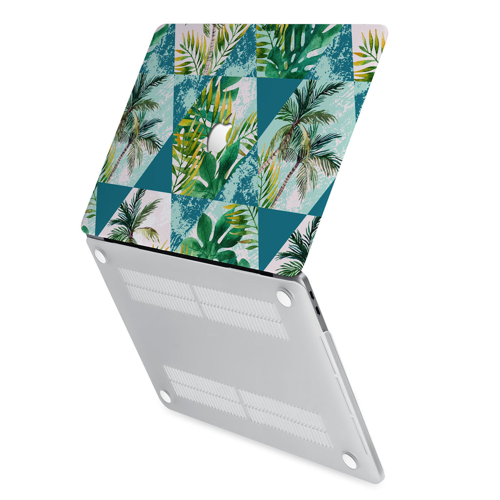 hardshell case with Tropical Leaves design has rubberized feet that keeps your MacBook from sliding on smooth surfaces