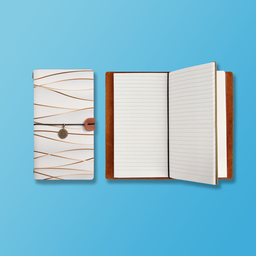 the front top view of midori style traveler's notebook with Luxury design