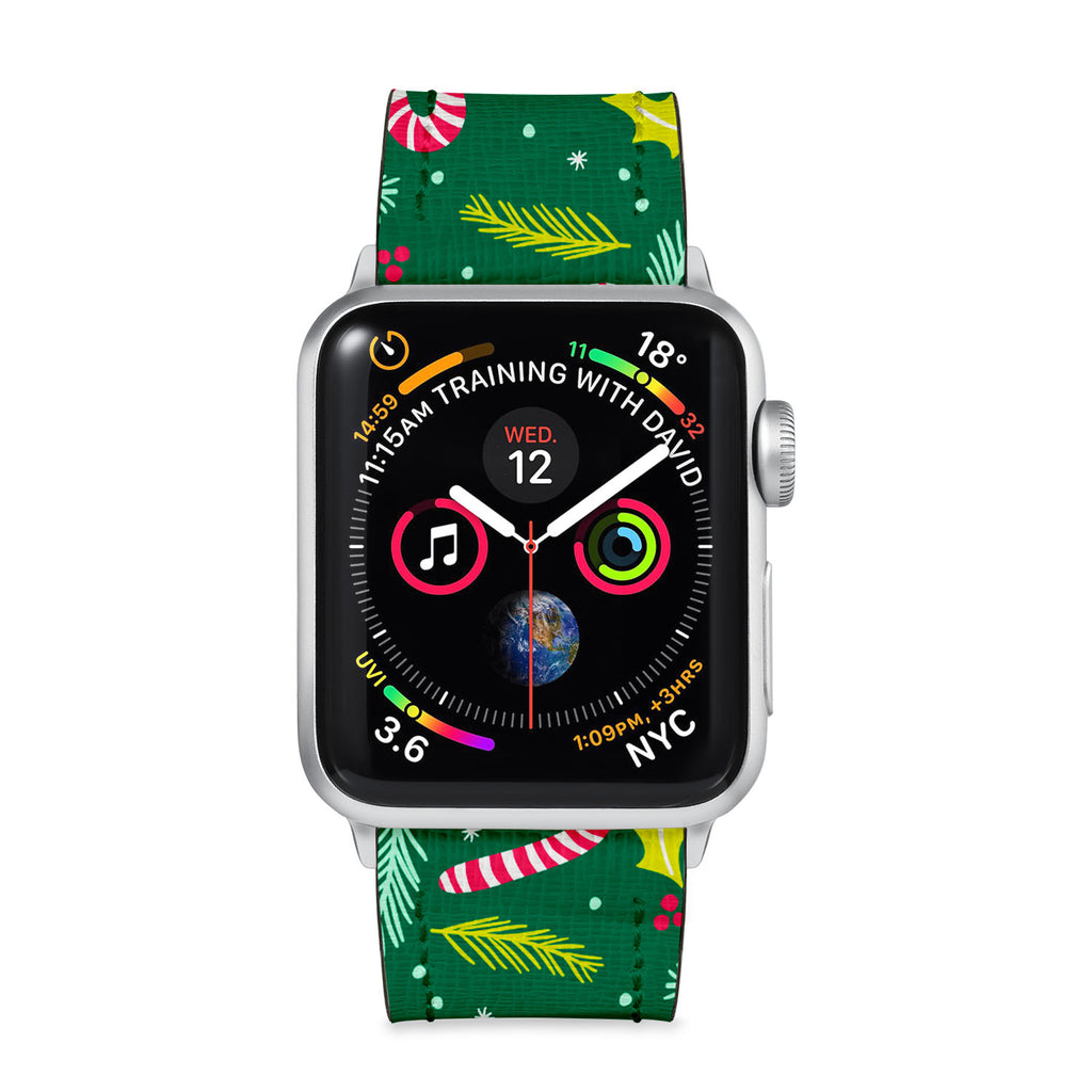 Our Printed Leather Apple Watch Band with Holiday design are made of water- and scratch-resistant saffiano leather because we know you wear your apple watch every, single, day. - swap