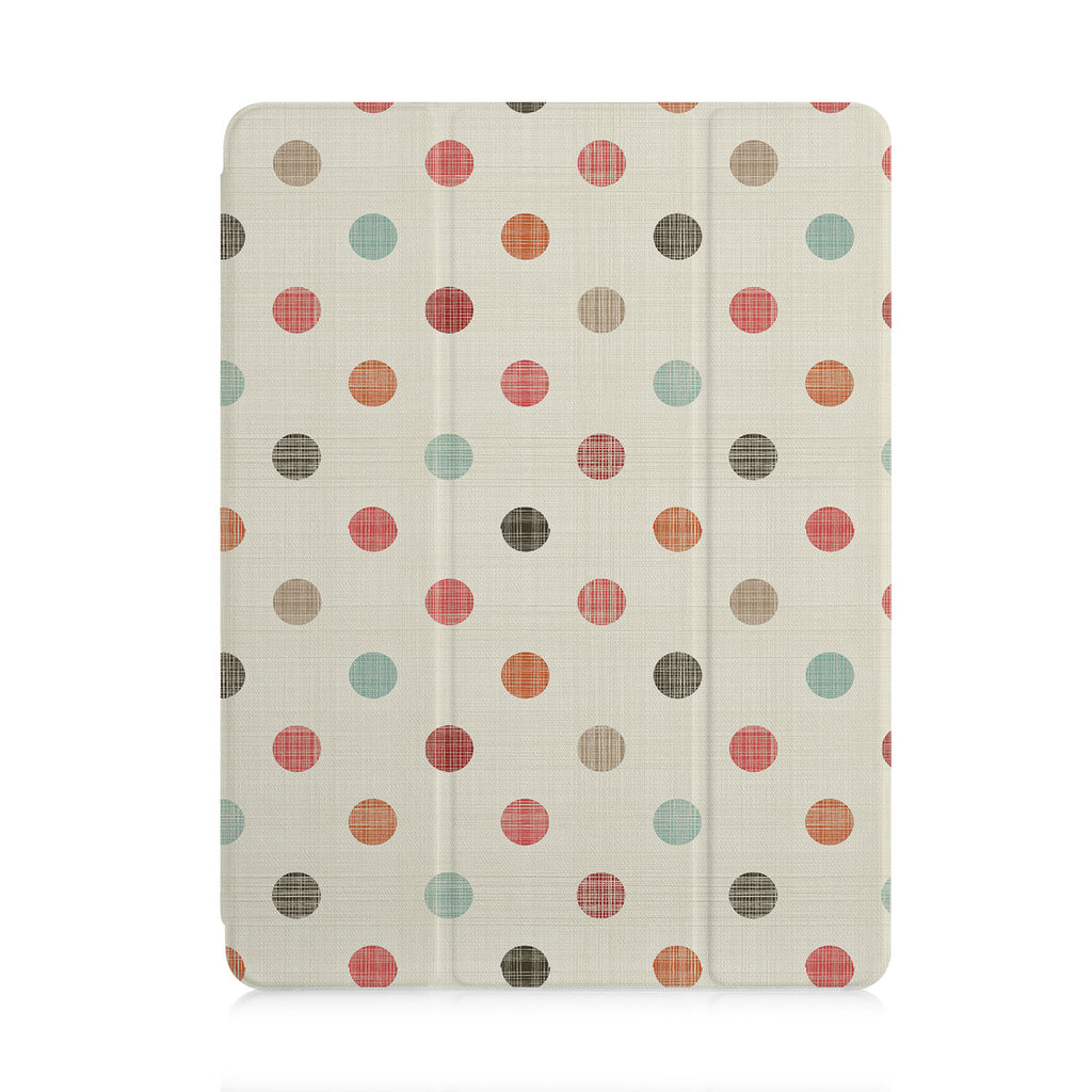 front view of personalized iPad case with pencil holder and Faded Fabric design