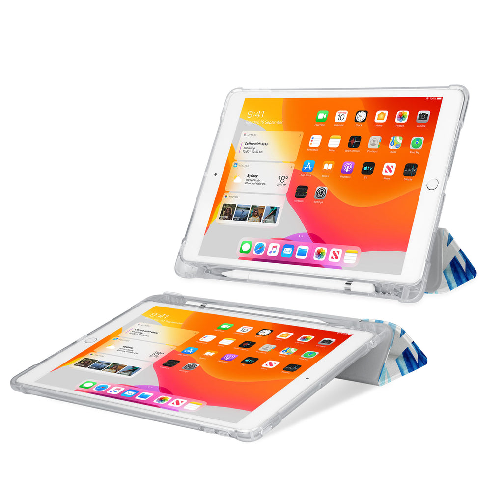 iPad SeeThru Casd with Geometric Flower Design Rugged, reinforced cover converts to multi-angle typing/viewing stand