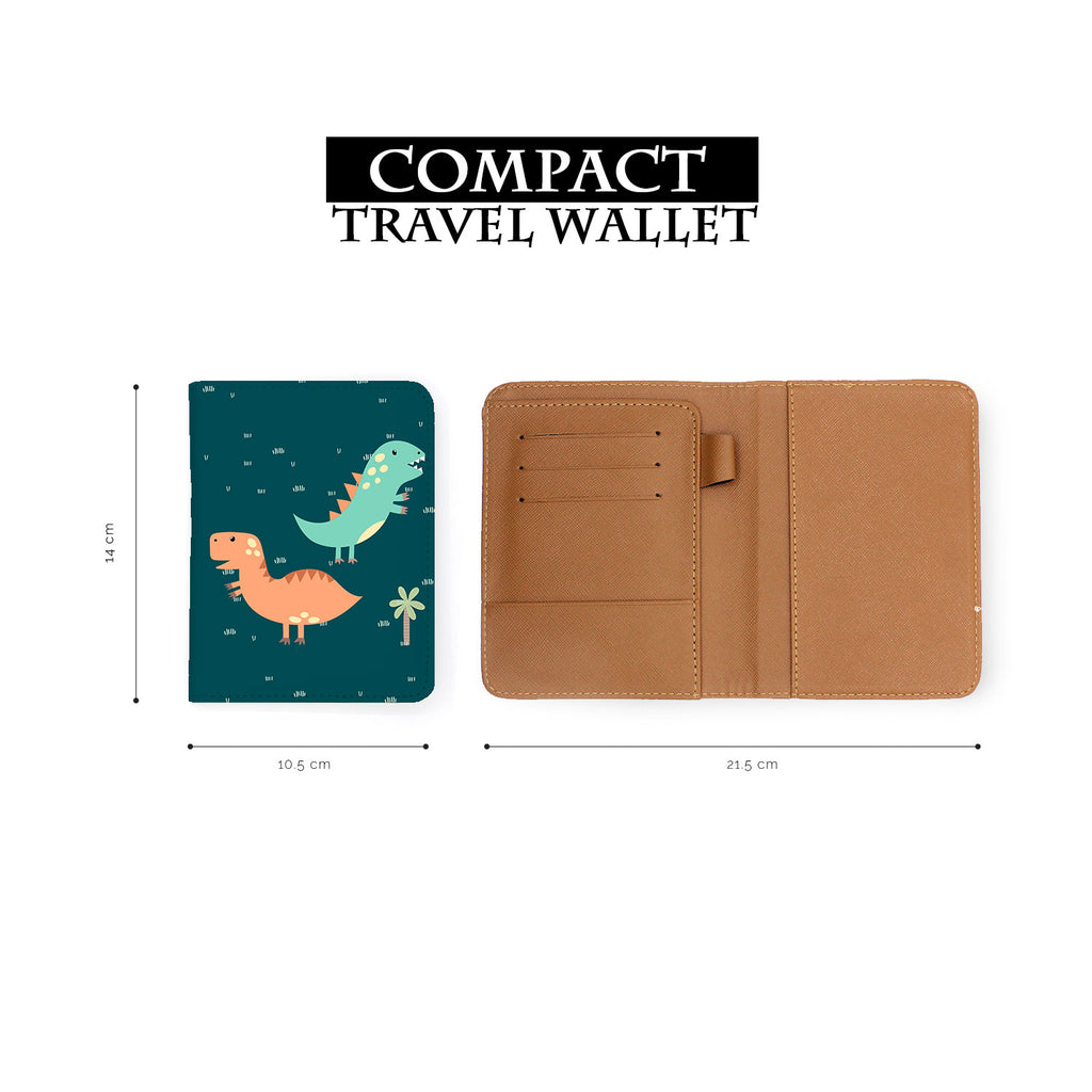 compact size of personalized RFID blocking passport travel wallet with Dino Party design