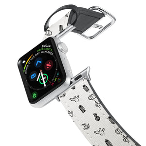 Printed Leather Apple Watch Band with Hand Drawing design. Designed for Apple Watch Series 4,Works with all previous versions of Apple Watch.