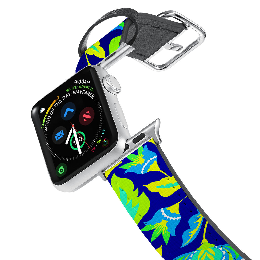 Printed Leather Apple Watch Band with Botanic design. Designed for Apple Watch Series 4,Works with all previous versions of Apple Watch.