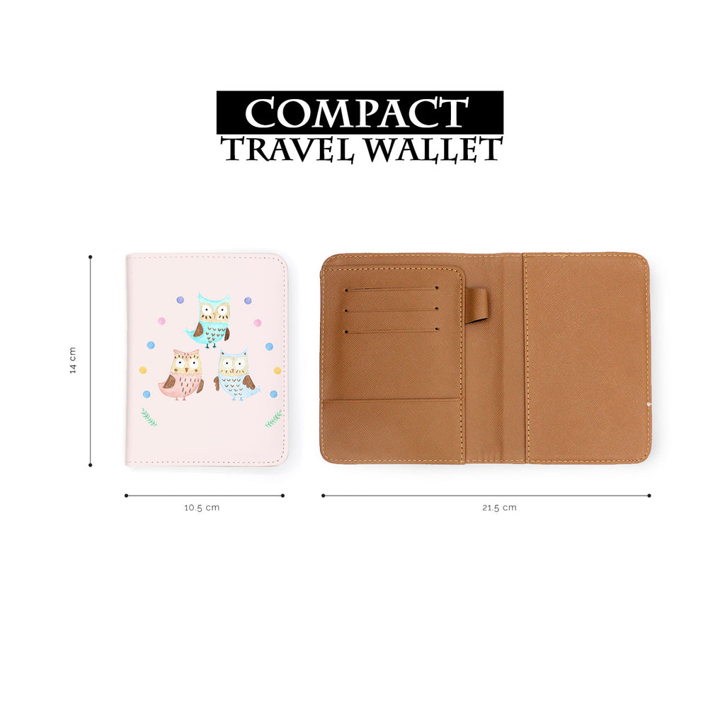 compact size of personalized RFID blocking passport travel wallet with Happy Owls design