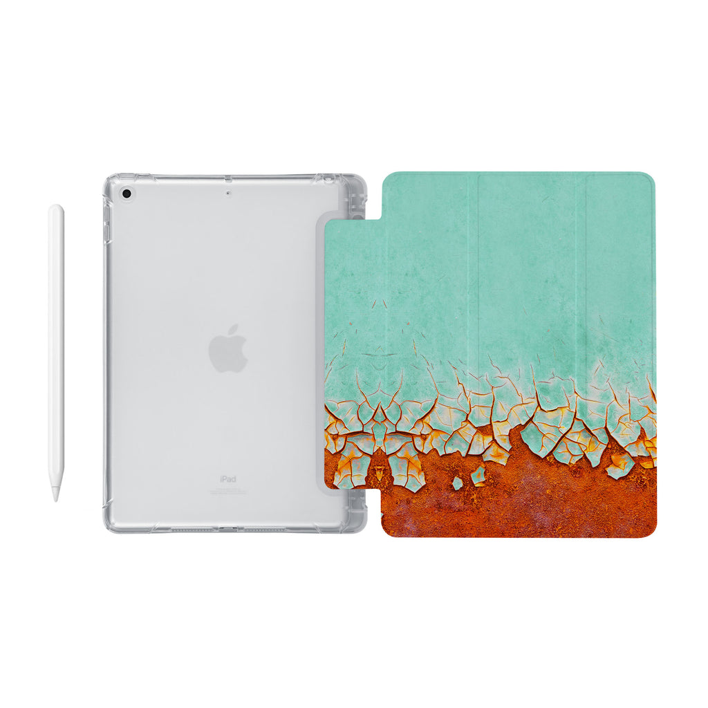 iPad SeeThru Casd with Rusted Metal Design Fully compatible with the Apple Pencil