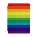front and back view of personalized iPad case with pencil holder and Rainbow design