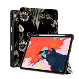 front back and stand view of personalized iPad case with pencil holder and Stay Wild design