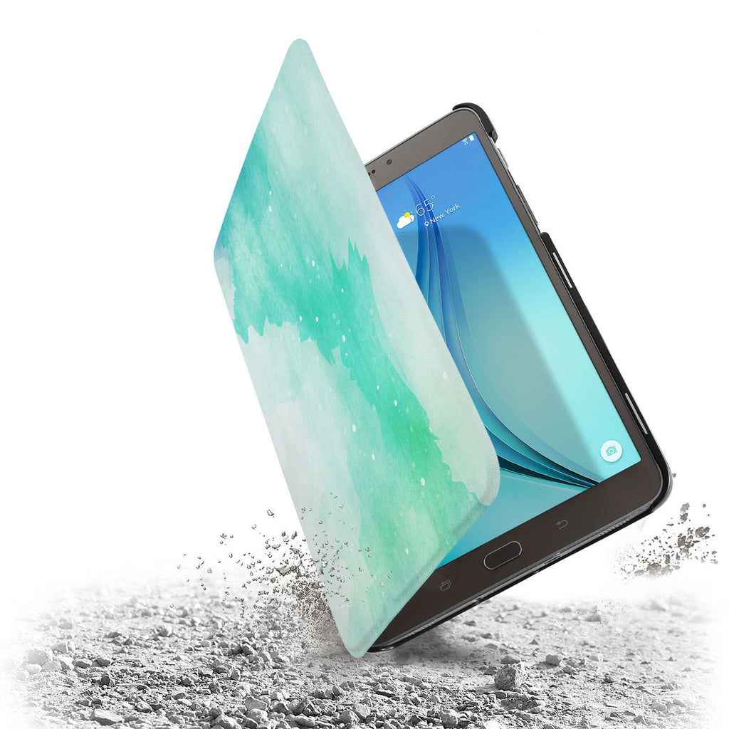 the drop protection feature of Personalized Samsung Galaxy Tab Case with Abstract Watercolor Splash design