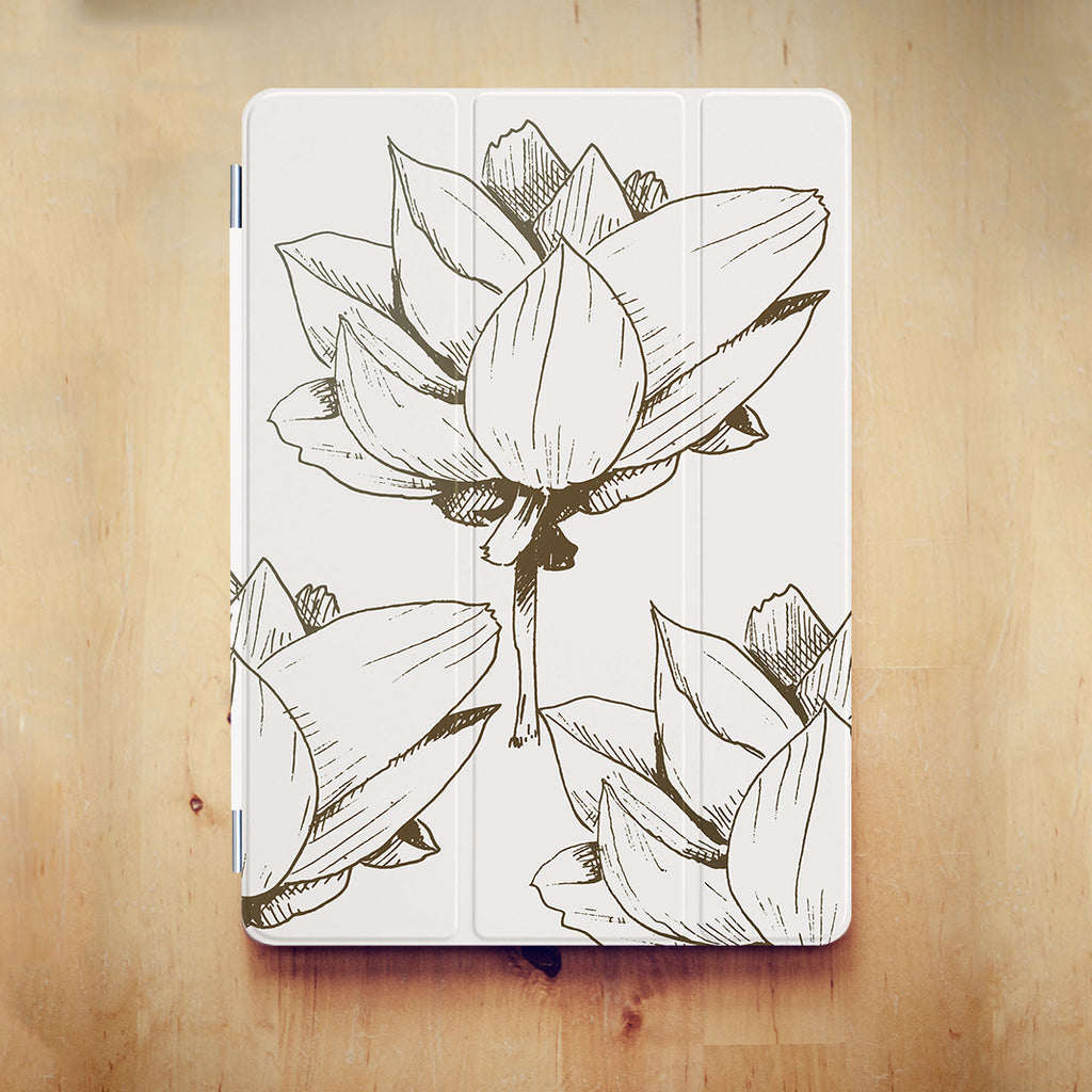 personalized iPad case smart cover with Bloom Flourish design on the wooden desk