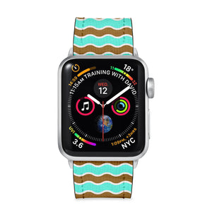 Our Printed Leather Apple Watch Band with Vertical Pattern design are made of water- and scratch-resistant saffiano leather because we know you wear your apple watch every, single, day. - swap