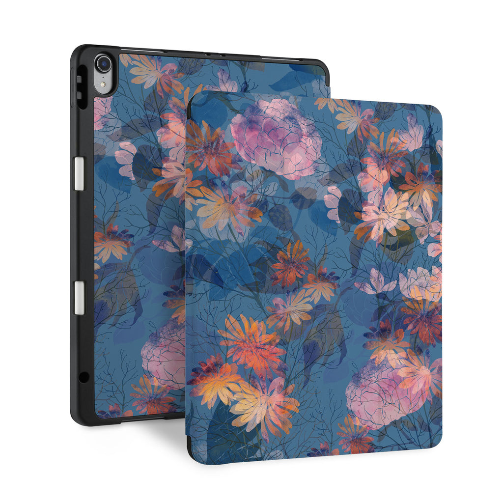 front and back view of personalized iPad case with pencil holder and Psychedelic design