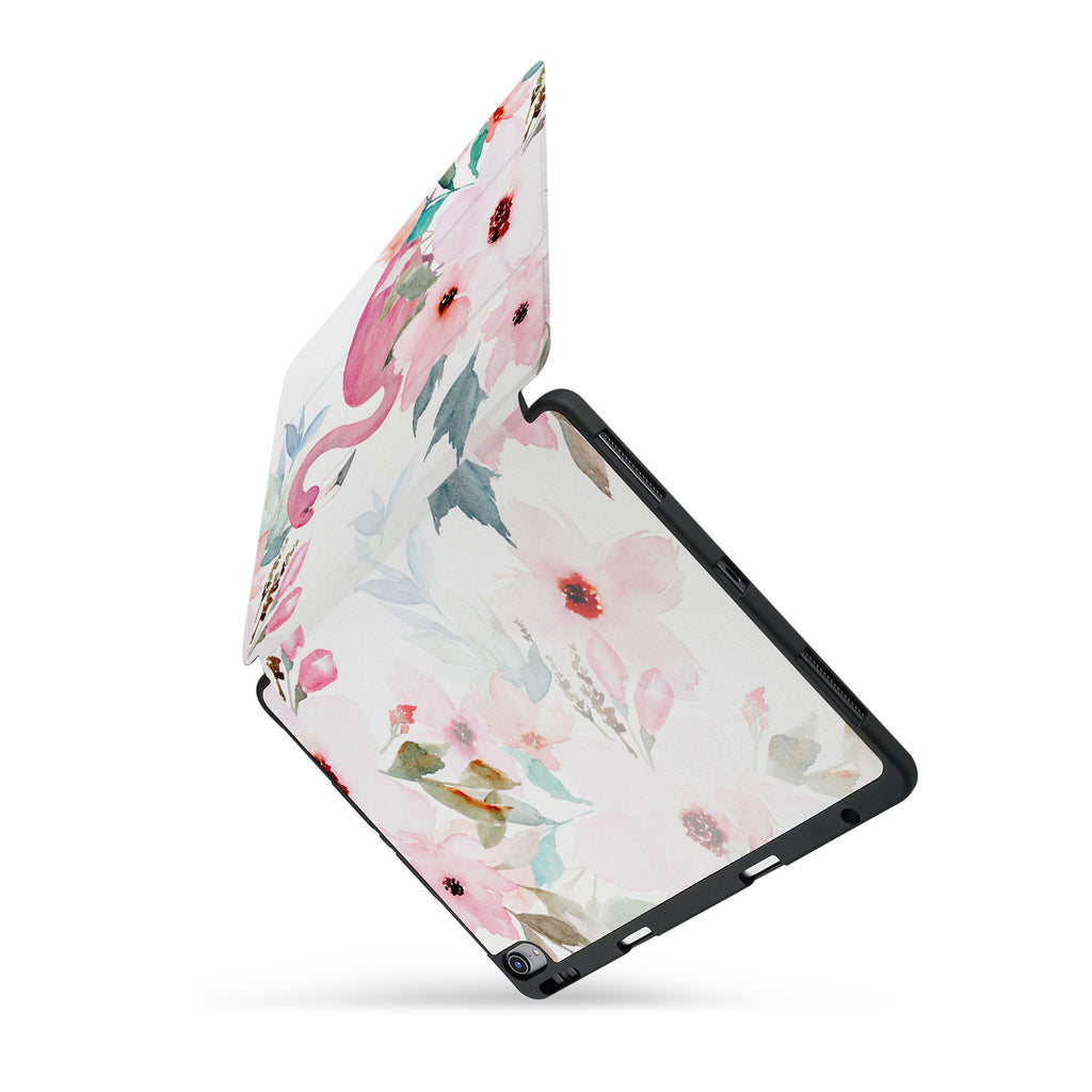 personalized iPad case with pencil holder and Flamingo design