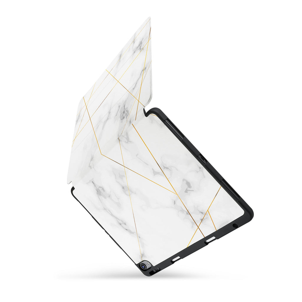 personalized iPad case with pencil holder and Marble 2020 design
