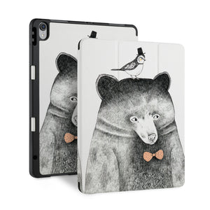 front and back view of personalized iPad case with pencil holder and Bear design