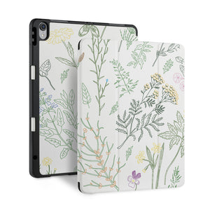 front and back view of personalized iPad case with pencil holder and Leaves design