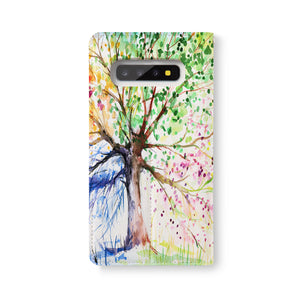 Back Side of Personalized Samsung Galaxy Wallet Case with WatercolorFlower design - swap