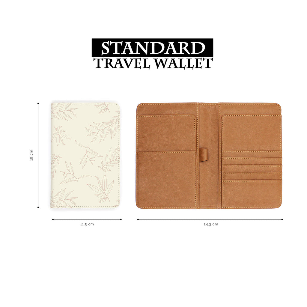 standard size of personalized RFID blocking passport travel wallet with Romantic Leaves design