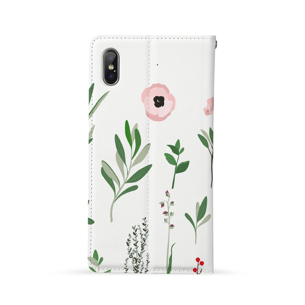 Back Side of Personalized Huawei Wallet Case with Flat Flower design - swap