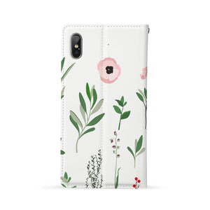 Back Side of Personalized iPhone Wallet Case with Flat Flower design - swap