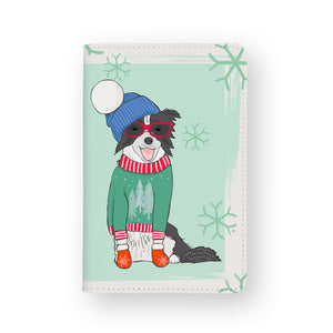 front view of personalized RFID blocking passport travel wallet with Furry Christmas design