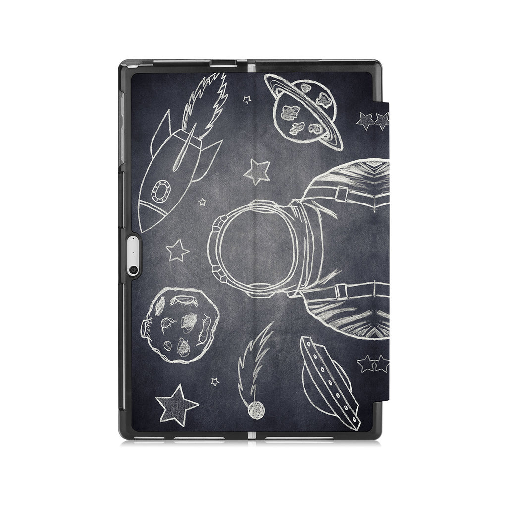 the back side of Personalized Microsoft Surface Pro and Go Case with Astronaut Space design