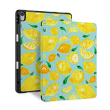 front back and stand view of personalized iPad case with pencil holder and Fruit design - swap