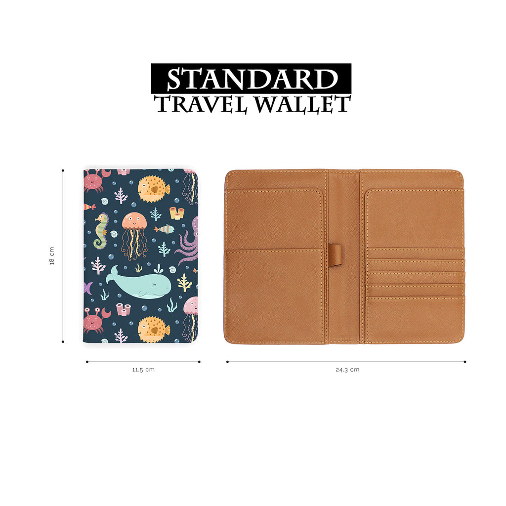 standard size of personalized RFID blocking passport travel wallet with Sealife design