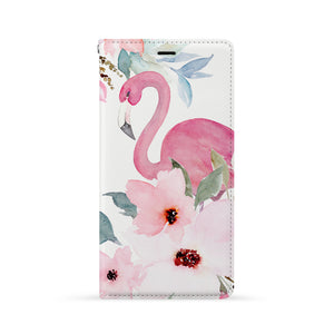 Front Side of Personalized iPhone Wallet Case with Flamingos design