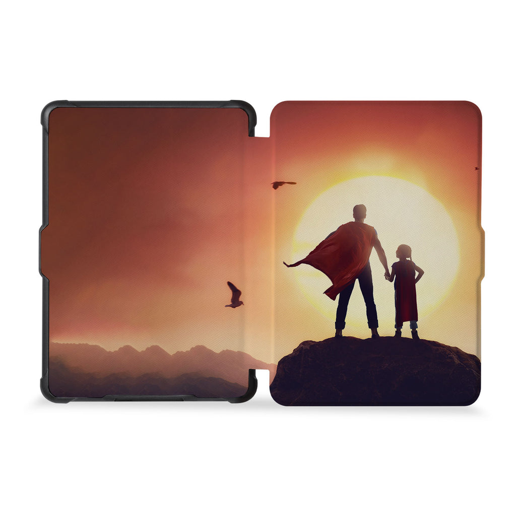 the whole front and back view of personalized kindle case paperwhite case with Father Day design