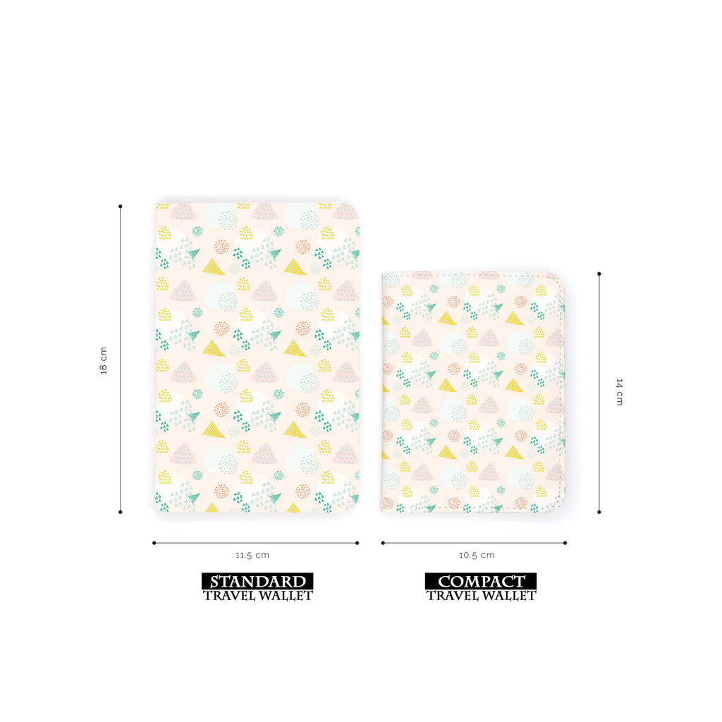 comparison of two sizes of personalized RFID blocking passport travel wallet with Abstract Patterns design