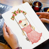 a girl holding personalized iPad case smart cover with Charming Bear design