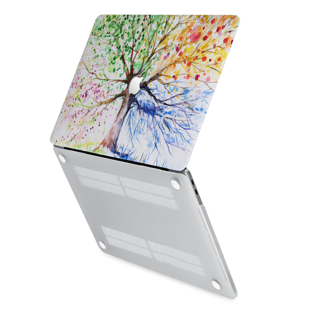hardshell case with Watercolor Flower design has rubberized feet that keeps your MacBook from sliding on smooth surfaces