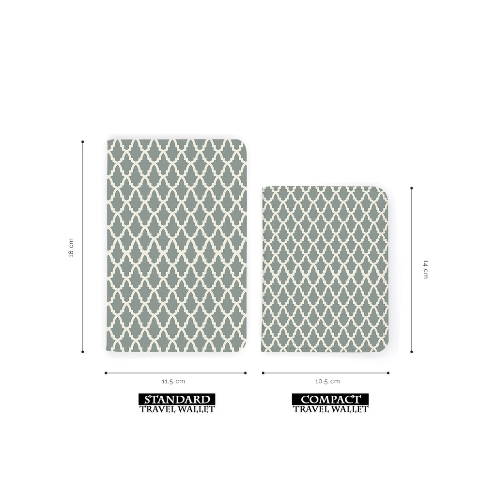 comparison of two sizes of personalized RFID blocking passport travel wallet with Elegant Pattern design