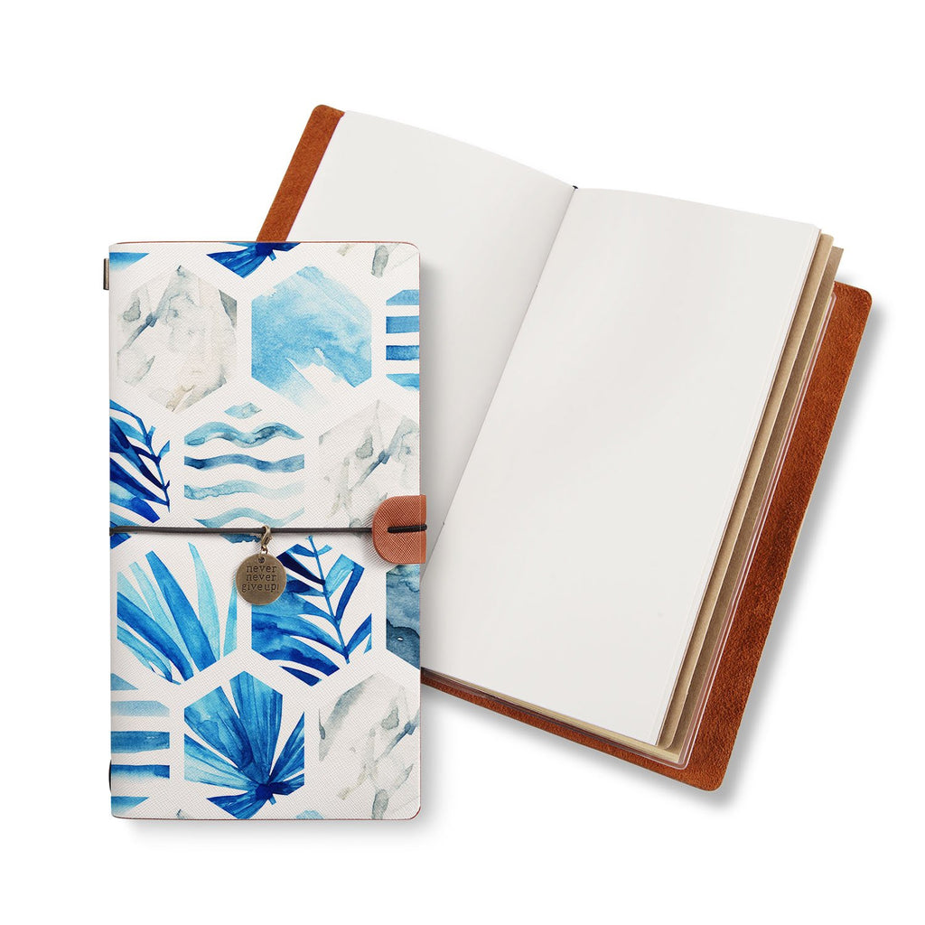 opened midori style traveler's notebook with Geometric Flower design