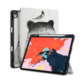 front back and stand view of personalized iPad case with pencil holder and Bear design