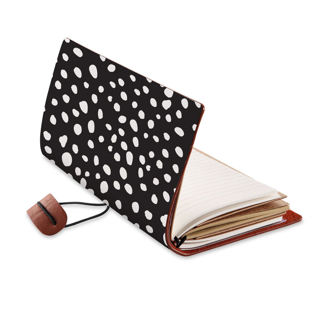 opened view of midori style traveler's notebook with Polka Dot design