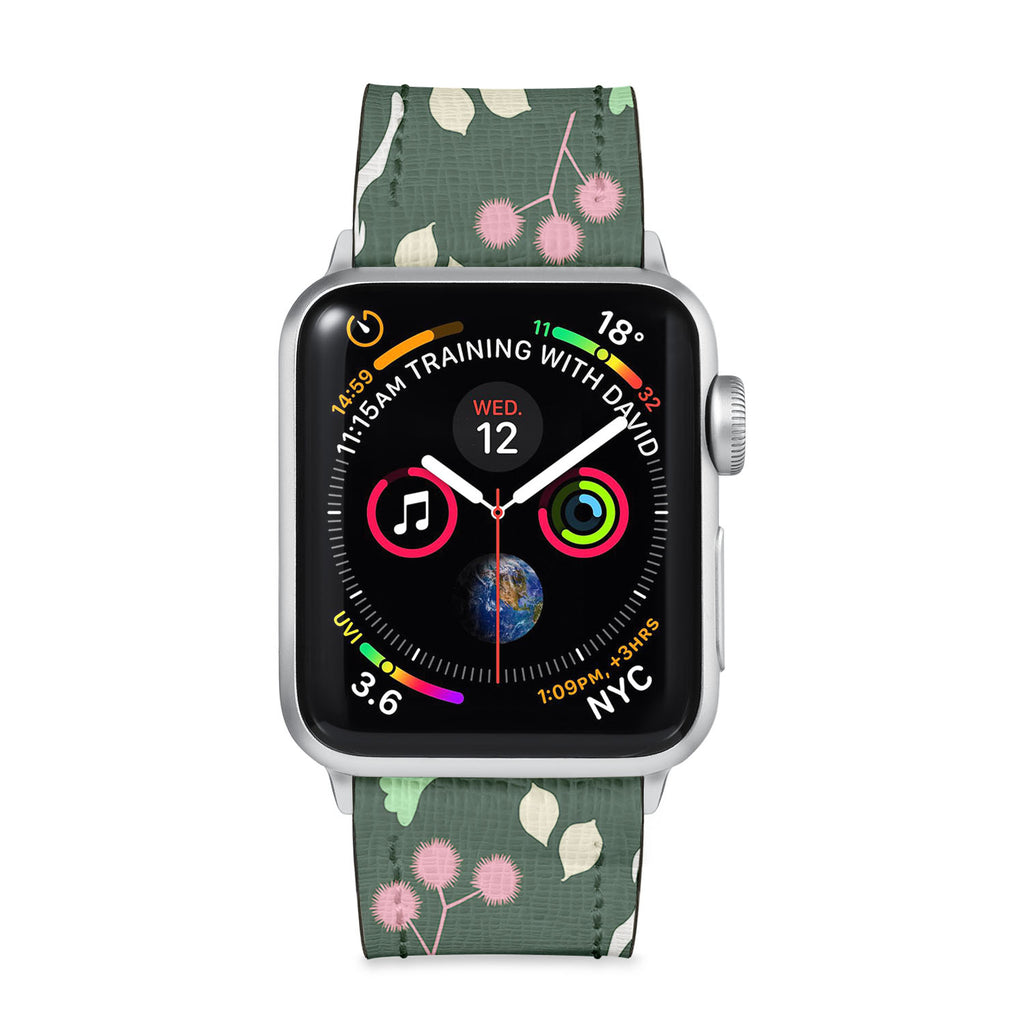 Our Printed Leather Apple Watch Band with Back To Nature design are made of water- and scratch-resistant saffiano leather because we know you wear your apple watch every, single, day. - swap