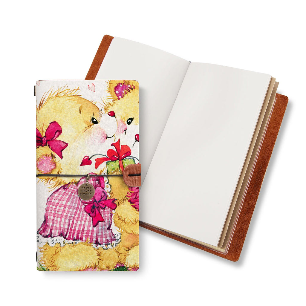 opened midori style traveler's notebook with Bear design