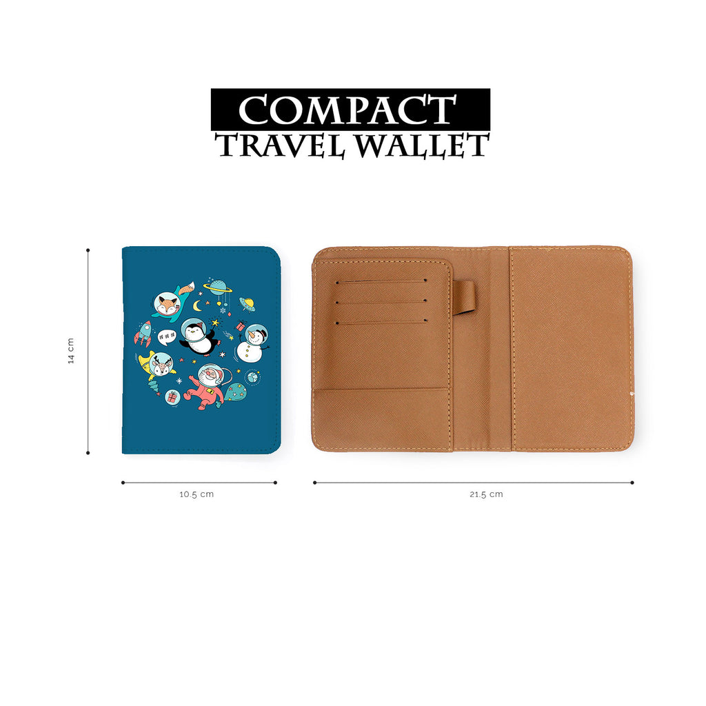 compact size of personalized RFID blocking passport travel wallet with Christmas design