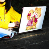 a girl using macbook air with personalized Macbook carry bag case with Bear design on a wooden table