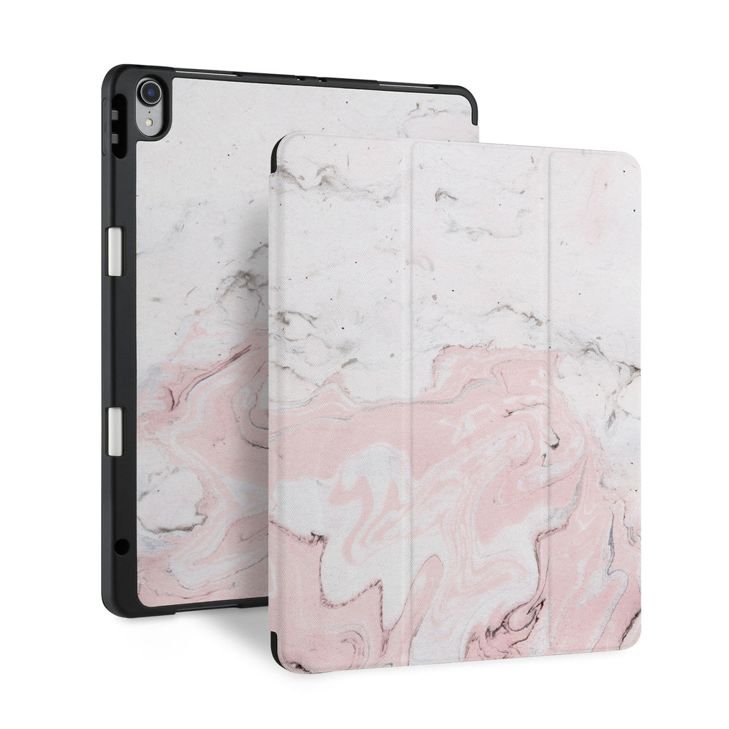 front back and stand view of personalized iPad case with pencil holder and Pink Marble design - swap