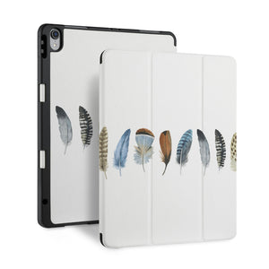 front and back view of personalized iPad case with pencil holder and Dreamy design