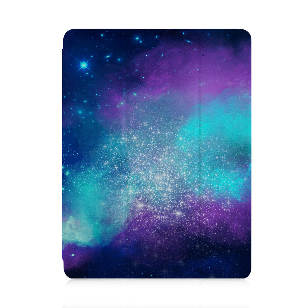 front view of personalized iPad case with pencil holder and Watercolor Universe design