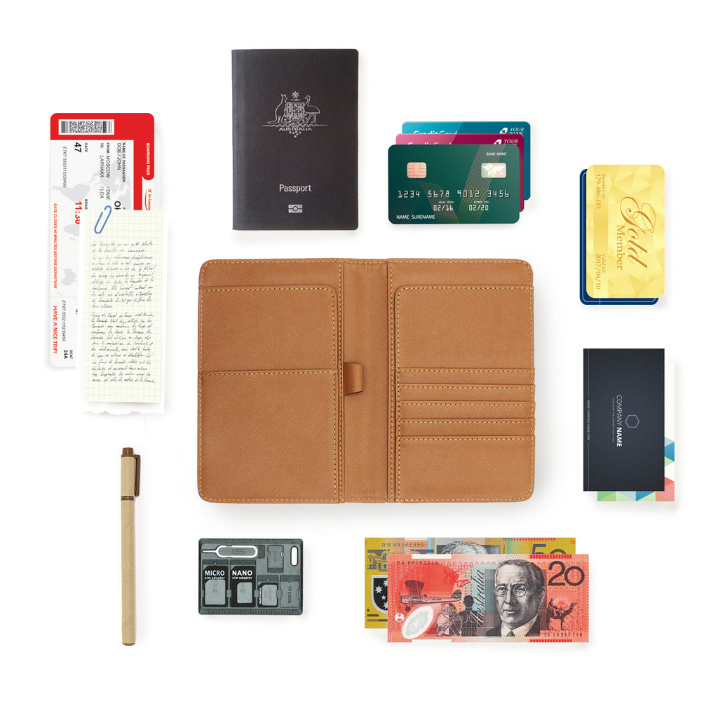 personalized RFID blocking passport travel wallet with Simple Scandi Luxe design with all accessories