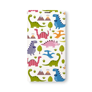 Front Side of Personalized Samsung Galaxy Wallet Case with Dinosaur design