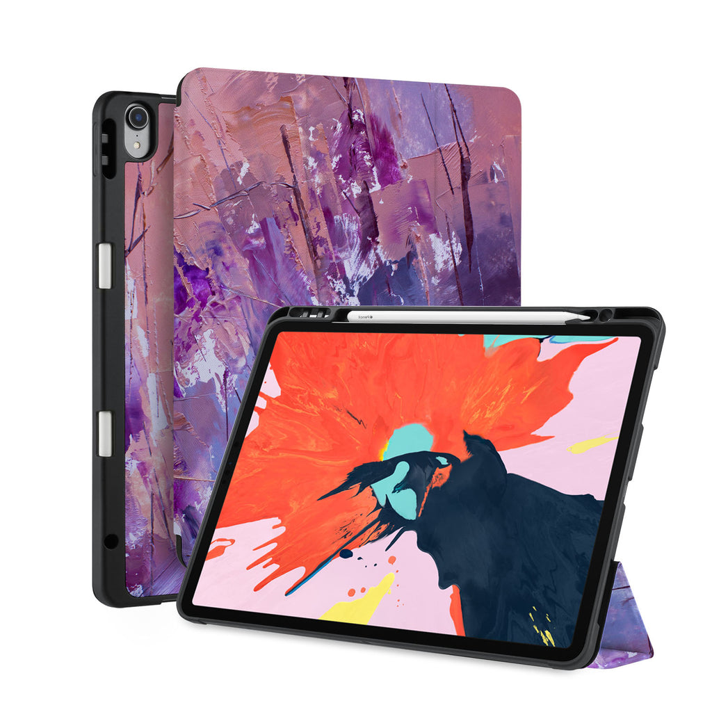 front back and stand view of personalized iPad case with pencil holder and Abstract Painting 2 design