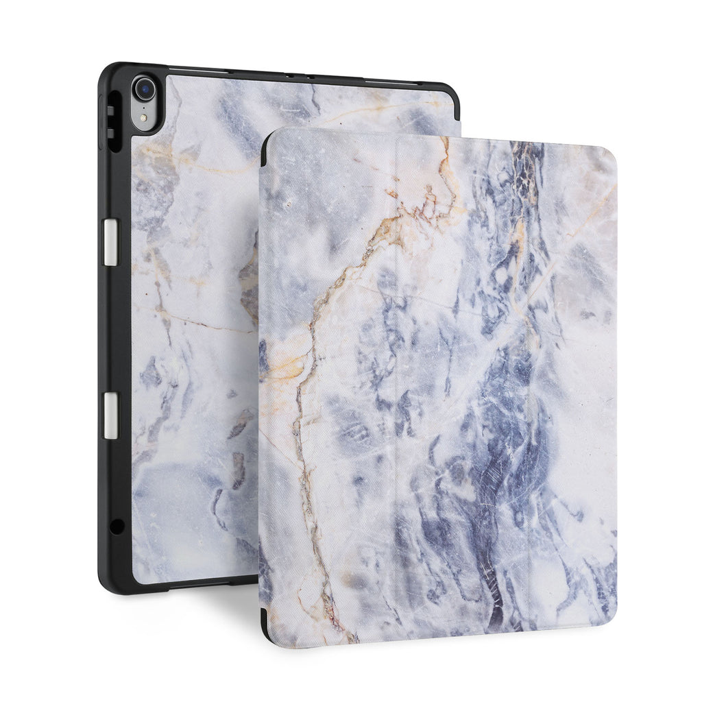 front back and stand view of personalized iPad case with pencil holder and Marble design - swap