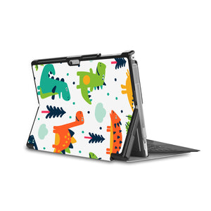 the back side of Personalized Microsoft Surface Pro and Go Case in Movie Stand View with Dinosaur design - swap